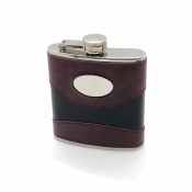 Hip Flask with Engraving Plate / 6oz. Two-Tone