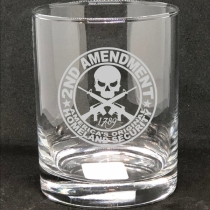 2nd Amendment Etched Glass, Personalized Whiskey Glass
